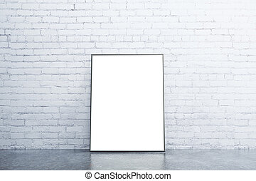 Blank white picture frame on concrete floor in empty room with white brick wall, mock up
