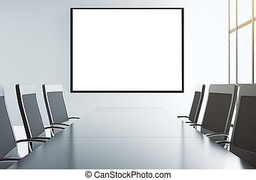 Blank white picture frame on the wall of conference room with furniture, mock up
