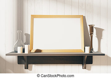 Blank white picture frame with candlesticks on brown wooden shelf, mock up