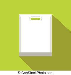 Blank white plastic bag flat icon