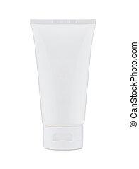 Blank white plastic cosmetics
