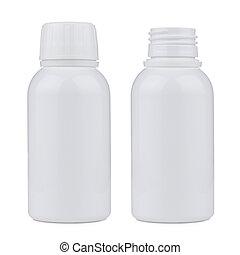 Blank white plastic pill bottle
