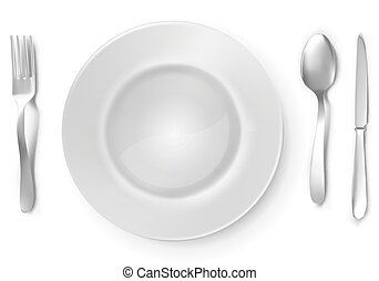 Blank white plate with silver fork, spoon and knife.