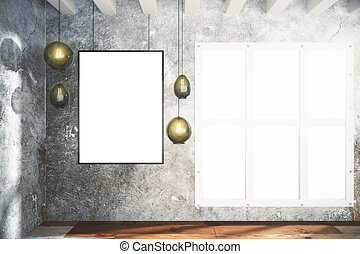 Blank white poster and vintage lightbulbs on concrete wall and in empty loft room with mock up