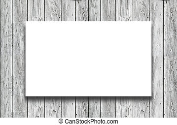 Blank white Poster hanging on wooden wall