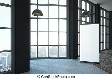 blank white poster in loft room