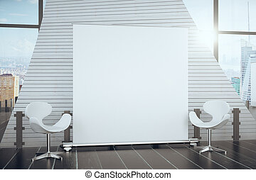 Blank white poster in modern hall between chairs and big window with city view, mock up