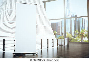 Blank white poster in modern hall with big window and city view, mock up