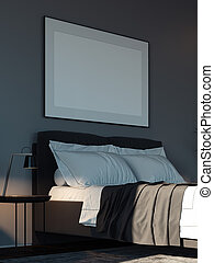 Blank white poster in modern stylish bedroom above cozy bed, 3d rendering.