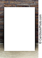 Blank White Poster Leaning on Brick Wall