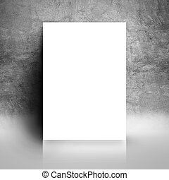 Blank White Poster Mock Up Leaning on Grunge Studio Wall