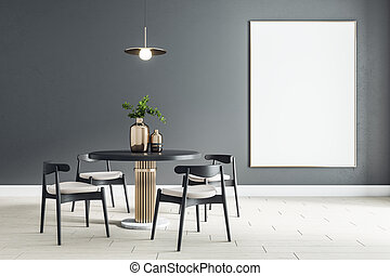 Blank white poster on black wall in modern dining room with round table and black wooden chairs on ceramic tiles floor. Mock up