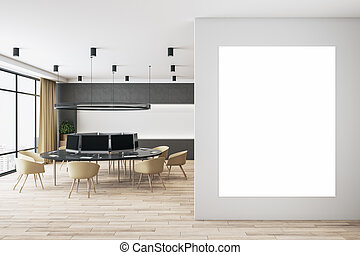 Blank white poster on light wall in coworking space with modern furniture, wooden floor and big window. Mockup