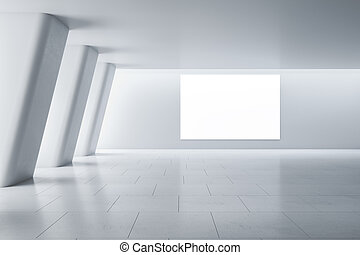 Blank white poster on light wall in modern empty spacious gallery hall with huge columns and ceramic tiles floor. Mockup