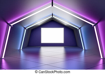 Blank white poster on the wall in the end of stylish tunnel with luminescent lamps and glossy ceramic tiles floor. 3D rendering, mock up