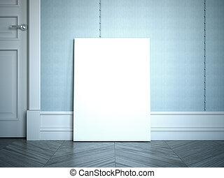 Blank white poster on the wooden floor. 3d rendering