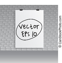 Blank white poster on  wall. Vector Illustration.