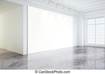Blank white poster on white wall in empty loft room with big windows, mock up