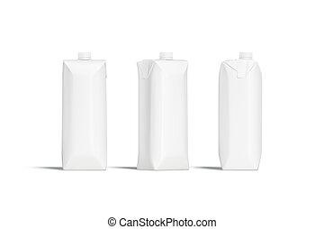 Blank white prisma juice pack with lid mockup set, sides - ...