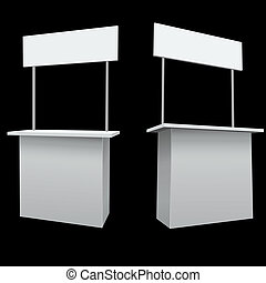 Blank white promo booth vector template.