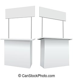Blank white promotion exhibition counter isolated on the white background.