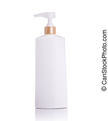 Blank white pump plastic bottle used for shampoo or soap....