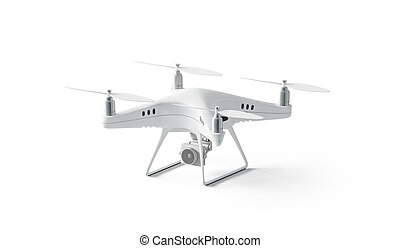 Blank white quadrocopter mock up, stand isolated, side view,...
