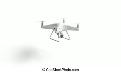 Blank white quadrocopter stand and flying mockup, looped...