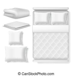 Blank white realistic bedding top view. Bed with blanket, pillow, linen and folded towel. Vector illustration isolated