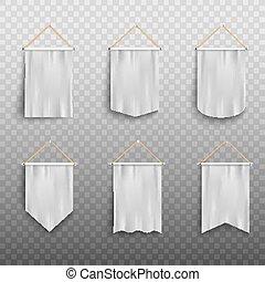 Blank white realistic pennant flag mockup set isolated on white background