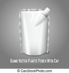 Blank white realistic plastic pouch with cap, isolated on grey background with place for your design and branding. Vector illustration
