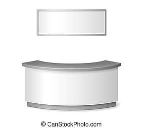 Blank White reception mockup. Round information desk or exhibition counter illustration isolated on white background. 3d reception vector illustration.
