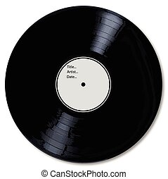 Blank White Record Label - A typical LP vinyl record with a...