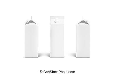 Blank white rex juice or milk pack lid mockup set, 3d ...