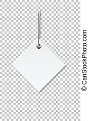 Blank white rhombus paper price tag isolated on transparent background