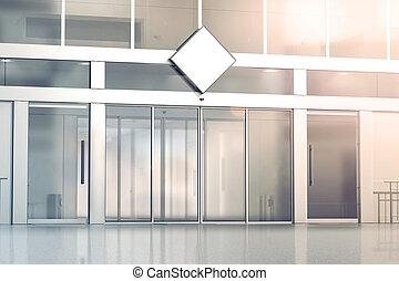 Blank white rhombus signage mockup on the store