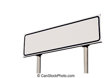 Blank White Road Sign, Isolated