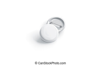 Blank white round badge stack mockup, front view