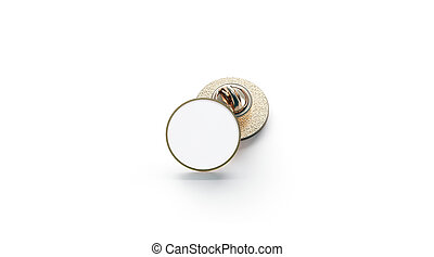 Blank white round gold lapel badge mockup