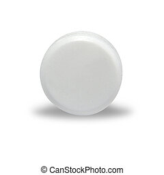 Blank White Round Pill - An isolated circular blank white...