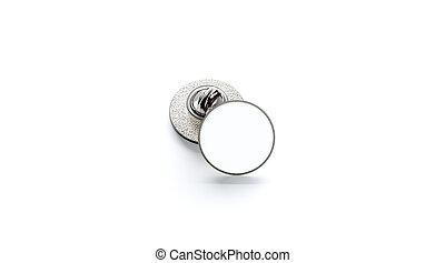 Blank white round silver lapel badge mockup stack,