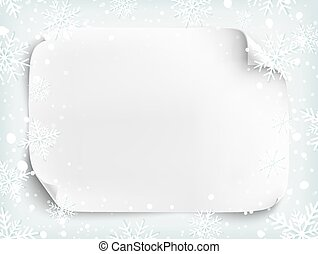Blank white sheet of paper on winter background with snow and snowflakes. Brochure, flyer or poster template. Vector illustration.