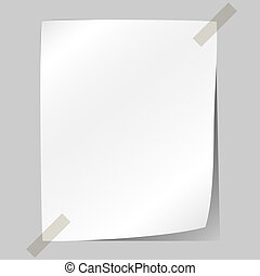 Blank white sheet of paper stuck to the wall.