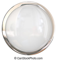 Blank White Shiny Round Button Copy Space