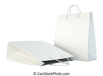blank white shopping paper bags set