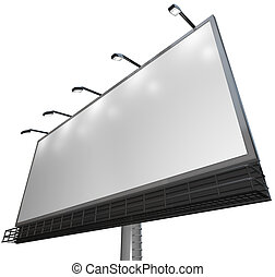 Blank White Sign - Advertisement of Product on Billboard -...
