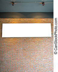 Blank White sign on brick wall