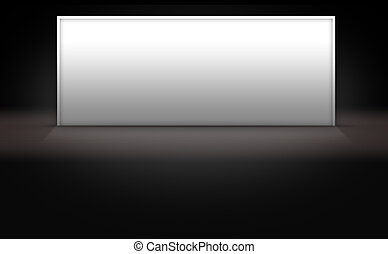 Blank White Sign on Dark 3d Background