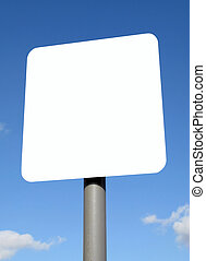 Blank white sign with space for text.