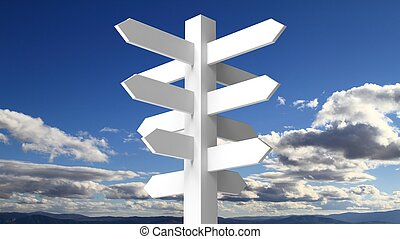 Blank white signpost on blue sky with clouds background